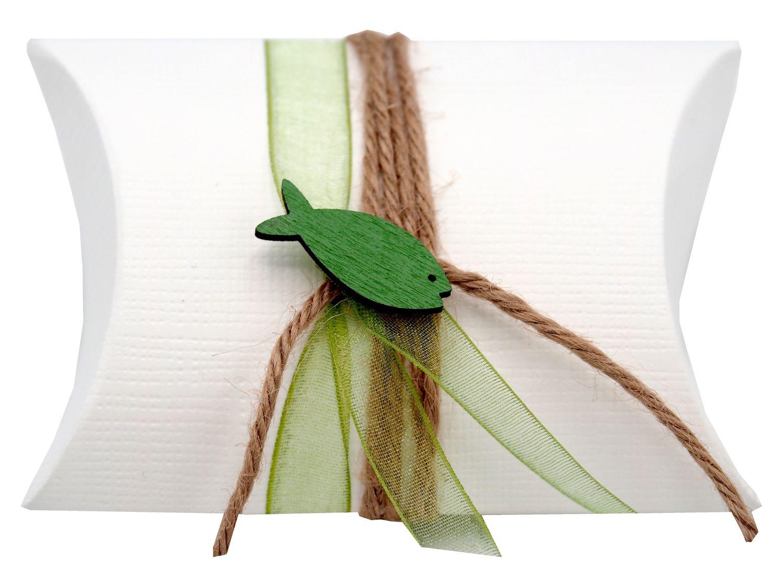 Gastgeschenk Schachtel Fisch Grün Kommunion Konfirmation Tischdeko Natur JONAS