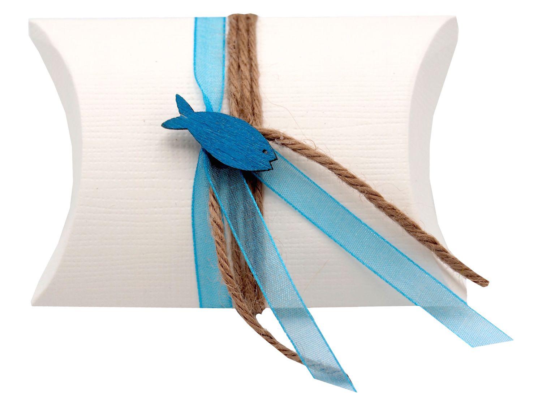 Gastgeschenk Schachtel Fisch Türkis Petrol Blau Kommunion Konfirmation Tischdeko Natur ISAAK
