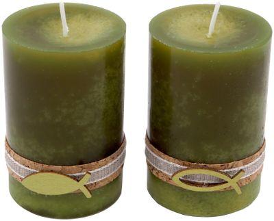 2 Stumpenkerzen Kerzen Grün Olive Kork Fisch Holz Tischdeko Deko 6cm