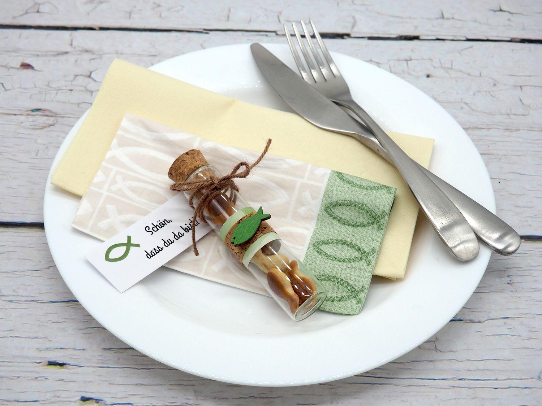 5 Gastgeschenke Kommunion Konfirmation Glasröhrchen Grün Fisch Anhänger Kärtchen Schön, dass du da bist