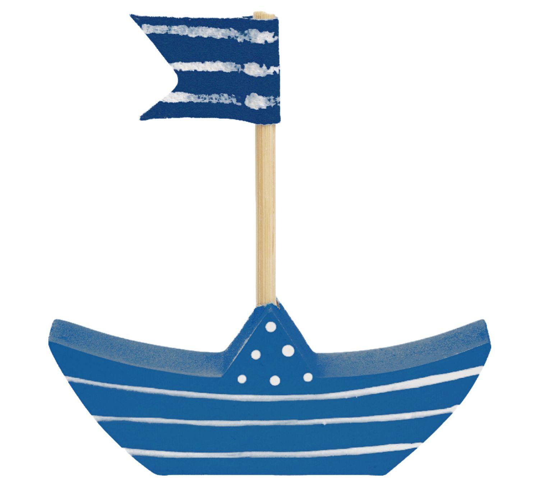 3x Dekofigur Boot Schiff Holz Blau Weiß Türkis Kommunion Konfirmation Taufe Tischdeko Maritim