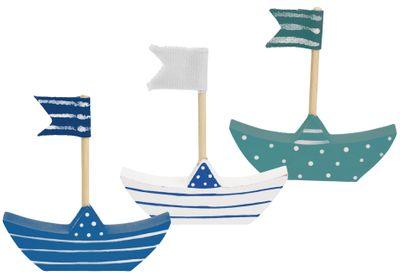 3x Dekofigur Boot Schiff Holz Blau Weiß Türkis Kommunion Konfirmation Tischdeko