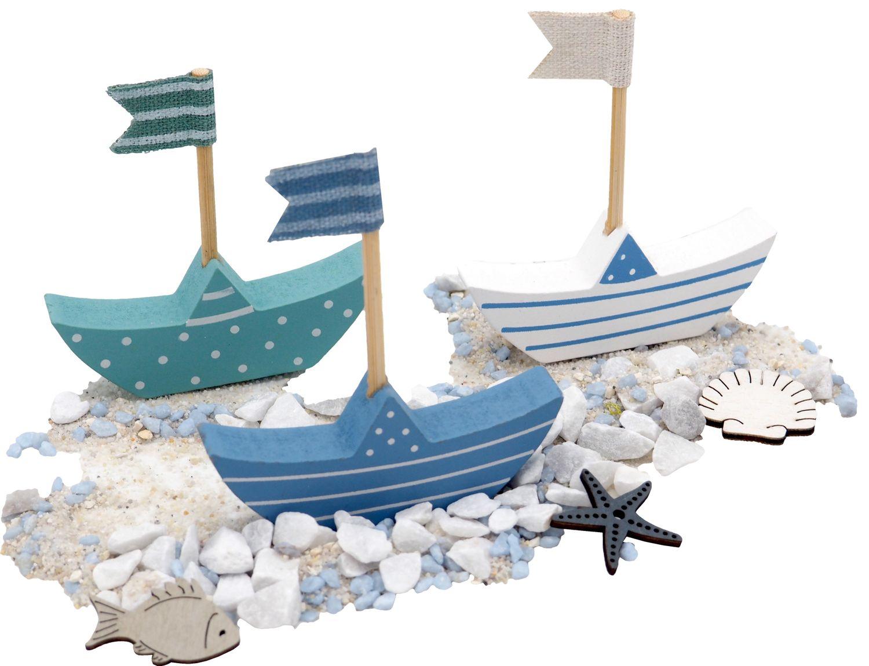3 Segelboote und 500g Streudeko Tischdeko Deko Maritim Muscheln Fisch Seesterne Blau Weiß Sommer Garten Party