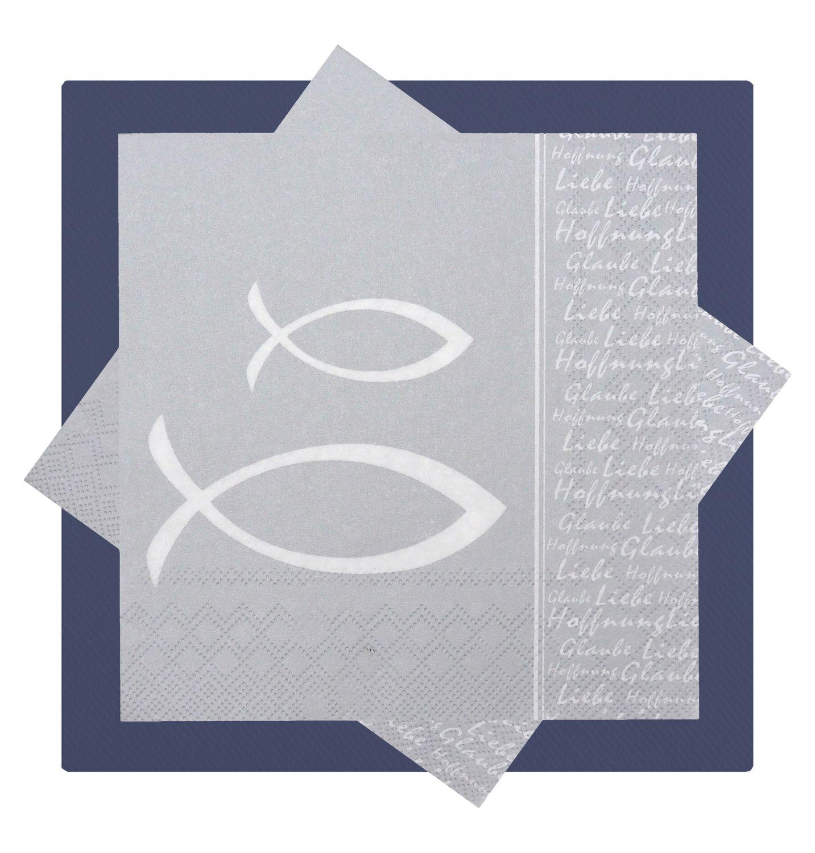 Servietten Fisch Grau Silber Tischdeko Kommunion Konfirmation SET 20+20 Stück