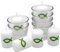 6x Kerze Votivkerze Fisch Grün 6x Votivglas Kommunion Konfirmation Tischdeko Kerzenglas 1
