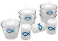 6x Kerze Votivkerze Fisch Türkis Petrol Blau 6x Votivglas Kommunion Konfirmation Tischdeko Kerzenglas 1