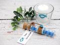 6x Kerze Votivkerze Fisch Türkis Petrol Blau 6x Votivglas Kommunion Konfirmation Tischdeko Kerzenglas 8