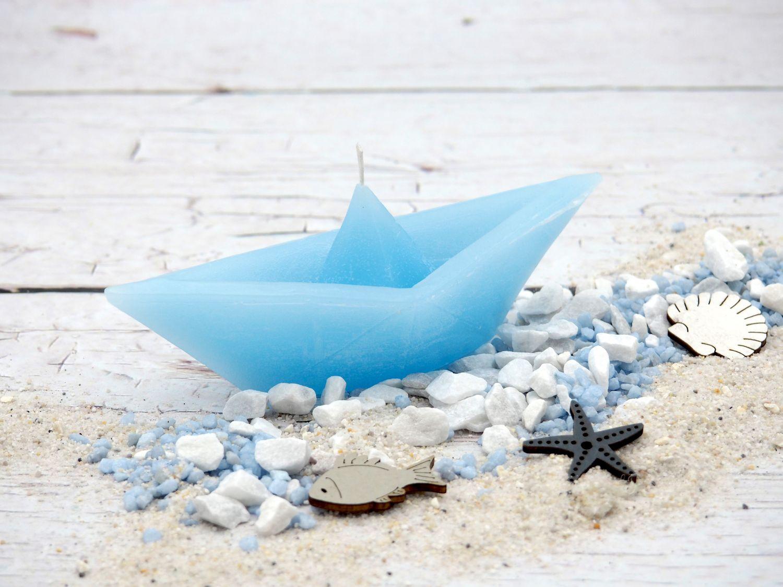 Kerze Papierboot Schiff Boot Maritim Taufe Blau Deko Kommunion Konfirmation Garten Badezimmer