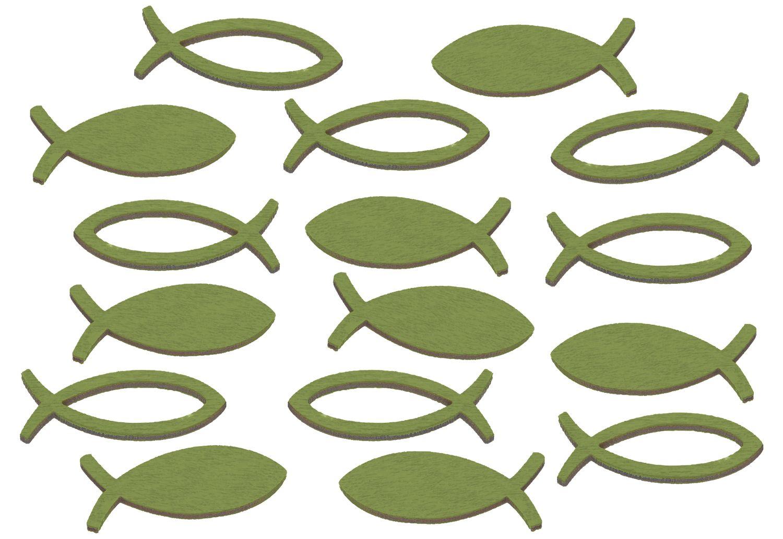 Streudeko Fische Holz 16 Stück Grün Rosa Weiß Türkis Grau Kommunion Konfirmation Tischdeko