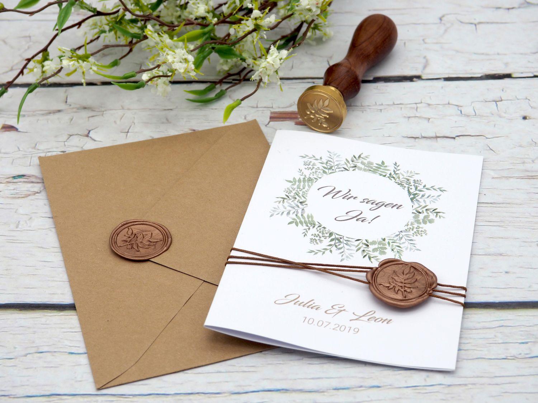 Einladungskarte Hochzeit Karte Einladung mit Namen Umschlag Kupfer Kraft Braun Natur Siegel