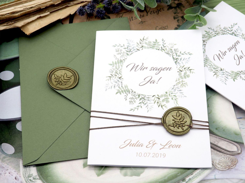 Einladungskarte Hochzeit Einladung mit Umschlag Grün Wachssiegel Olive Vintage Boho Stil