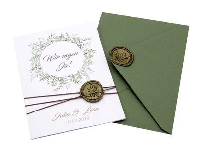 Einladungskarte Hochzeit Karte Einladung mit Namen Umschlag Grün Siegel Olive