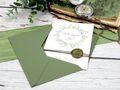Einladungskarte Hochzeit Einladung mit Umschlag Grün Wachssiegel Olive Vintage Boho Stil  6