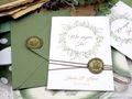 Einladungskarte Hochzeit Einladung mit Umschlag Grün Wachssiegel Olive Vintage Boho Stil  4