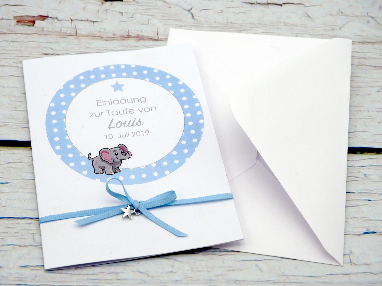 Karte Taufe Einladung.Einladungskarte Taufe Karte Einladung Taufe Mit Namen Umschlag Blau Baby Geburt