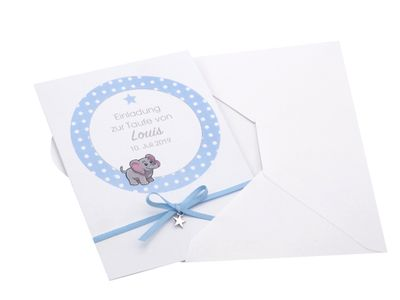 Einladungskarte Taufe Karte Einladung Taufe mit Namen Umschlag Blau Baby Geburt Junge