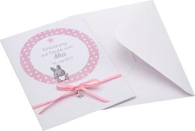 Karte Einladung Taufe MIT NAMEN mit Umschlag Rosa Einladungskarte Baby Geburt