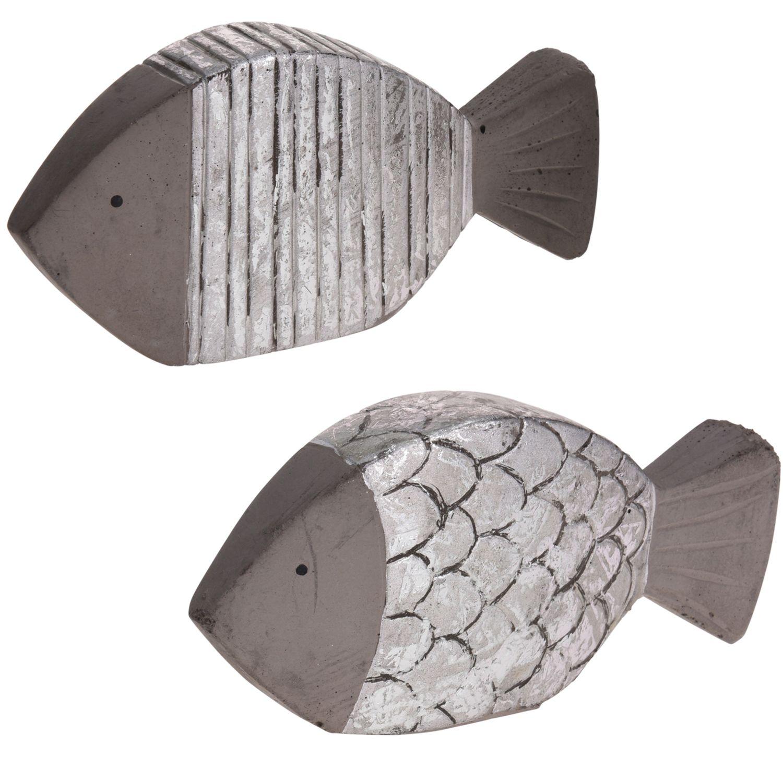 Fisch Beton Grau Silber Dick Schuppen Streifen Tischdeko Kommunion Konfirmation Dekofigur