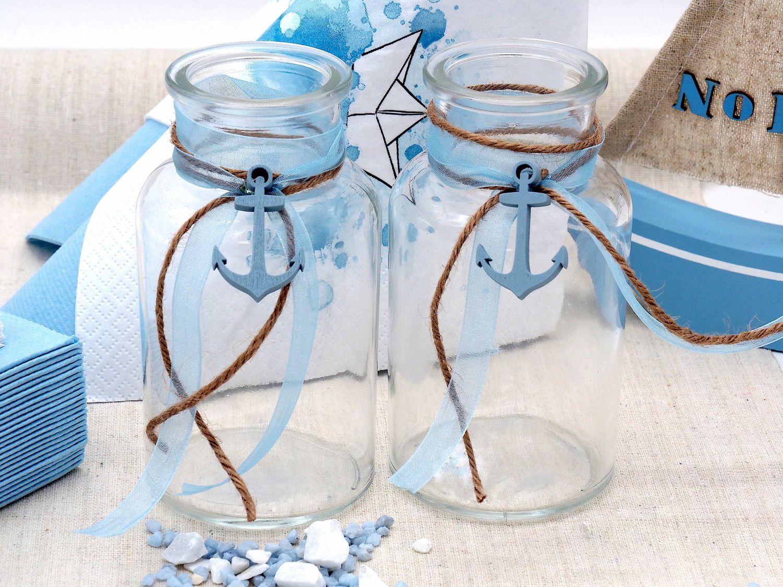 2 Vasen Kommunion Konfirmation Hellblau Blau Leinen Anker Tischdeko Maritim