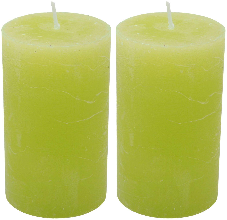 2 Stumpenkerzen Kerzen Grün 100/60 Paraffin Kommunion Konfirmation Tischdeko Deko