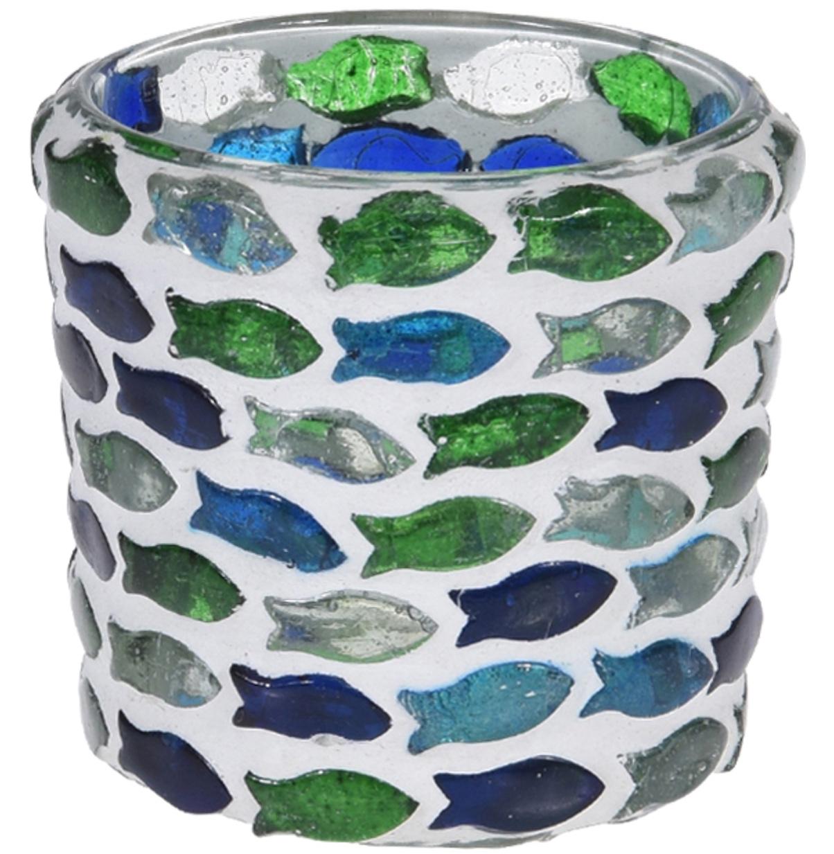 Teelichthalter Windlicht Glas Fische Blau Grün Tischdeko Kommunion Konfirmation Kerzenglas