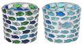 Kerzenhalter Teelichthalter Windlicht Glas Fische Blau Grün Tischdeko Kommunion Konfirmation Kerzenglas 1