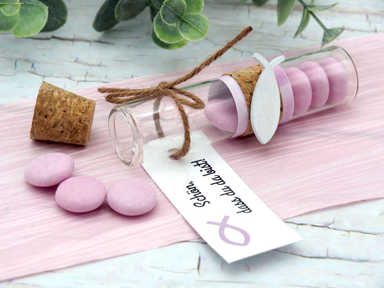 5 Gastgeschenke Kommunion Konfirmation Rosa Glasröhrchen Fisch Kärtchen Schön, dass du da bist