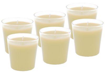 6x Kerze Creme Tischdeko Kerzenglas Party Geburtstag