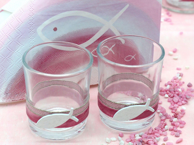 Tischdeko Kommunion Konfirmation Taufe Pink Rosa Weiß Fisch Regenbogen SET 20 Personen
