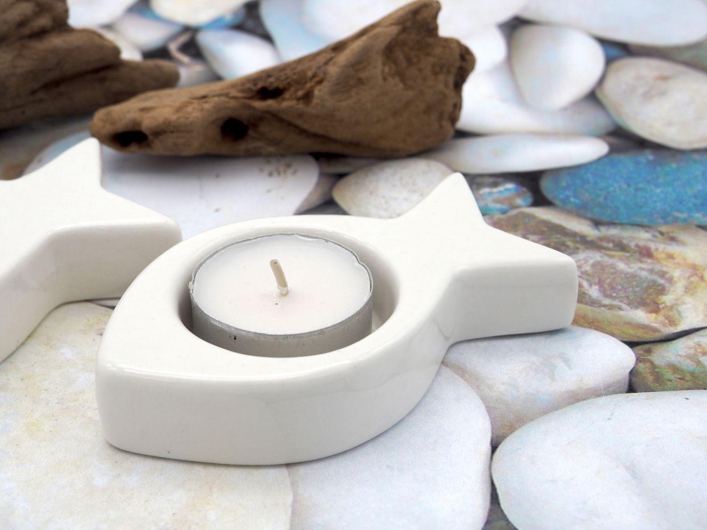 Teelichthalter Fisch Weiß Keramik Kommunion Konfirmation Kerzendeko Tischdeko Deko Maritim