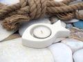 Teelichthalter Fisch Weiß Keramik Kommunion Konfirmation Kerzendeko Tischdeko Deko Maritim 6