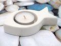 Teelichthalter Fisch Weiß Keramik Kommunion Konfirmation Kerzendeko Tischdeko Deko Maritim 3