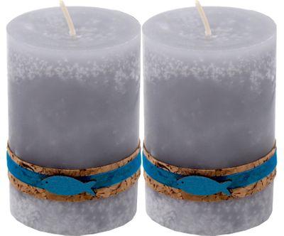 2 Stumpenkerzen Kerzen Grau Türkis Petrol Kork Fisch Holz Tischdeko ISAAK