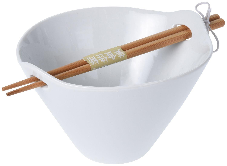 Schale mit Essstäbchen Weiß Porzellan Suppenschale Nudelschale Reisschale Küche