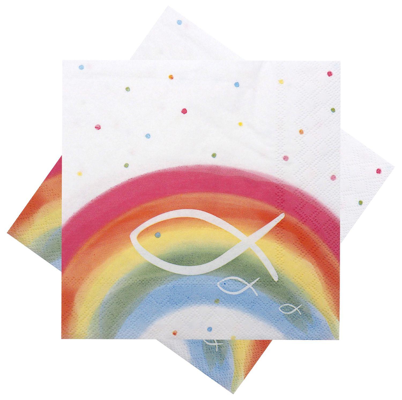 Servietten Fisch Bunt Regenbogen Tischdeko Kommunion Konfirmation Taufe 20 Stück