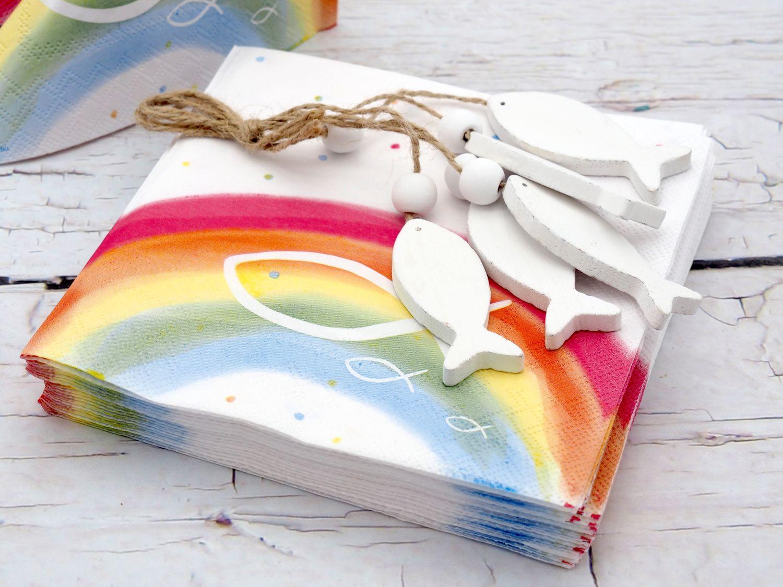 Servietten Regenbogen Bunt Fisch Kommunion Konfirmation Taufe Tischdeko Deko 20 Stück