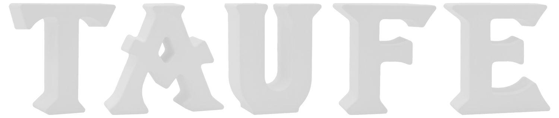 Schriftzug Stehend Buchstaben 3D Taufe Weiß Rosa Blau Tischdeko Deko