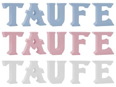 Schriftzug Stehend Buchstaben 3D Taufe Weiß Rosa Blau Tischdeko
