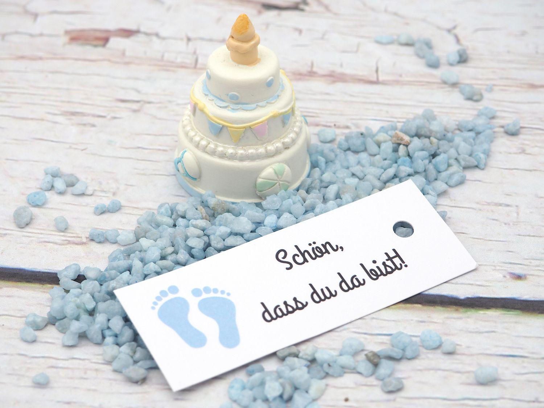 25 Kärtchen Anhänger Gastgeschenk Taufe Junge Baby Füße Blau Schön Dass Du Da Bist Deko Tischdeko