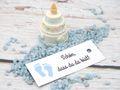 25 Kärtchen Anhänger Gastgeschenk Taufe Junge Baby Füße Blau Schön, dass du da bist Deko Tischdeko 2