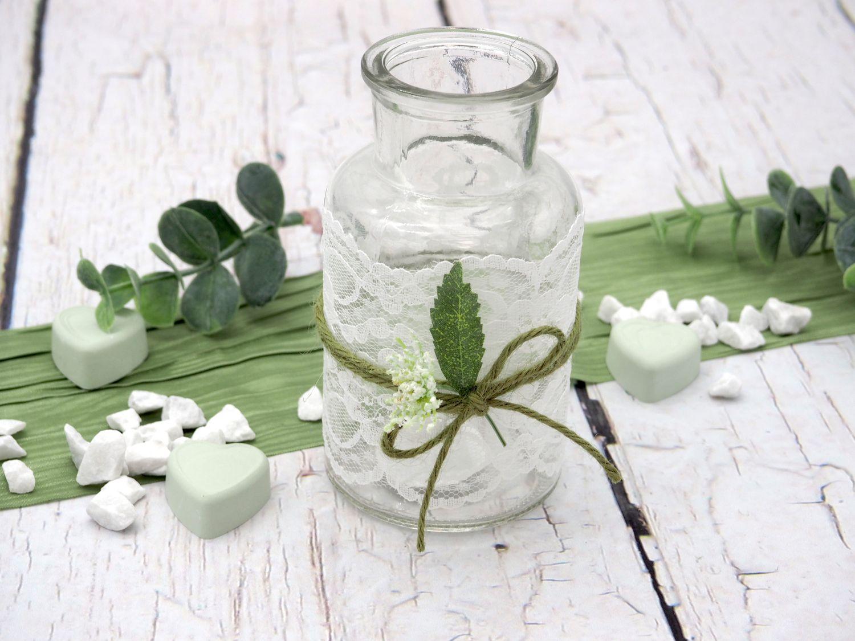 2 Vasen Weiß Grün Tischdeko Deko Hochzeit Vintage Geburtstag Kommunion Konfirmation JENNY