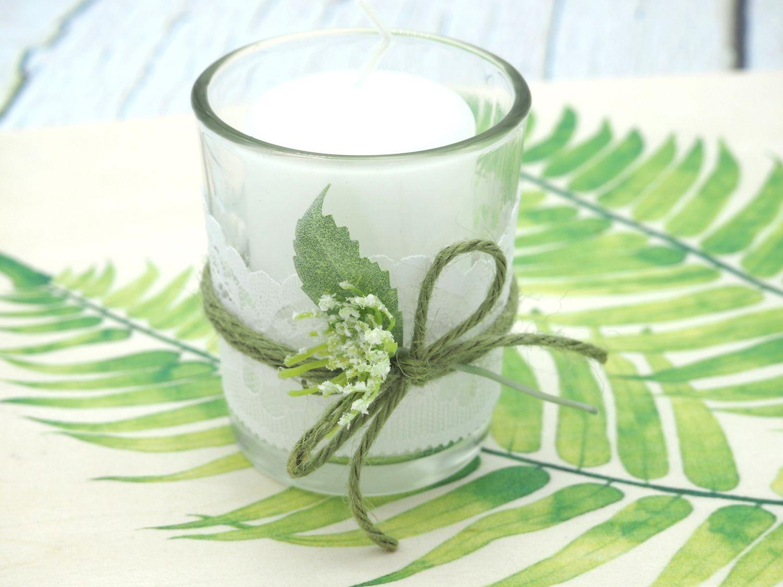 2x Teelichtglas Weiß Grün Tischdeko Deko Hochzeit Vintage Geburtstag Kommunion Konfirmation JENNY