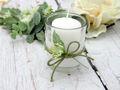 2x Teelichtglas Weiß Grün Tischdeko Deko Hochzeit Vintage Geburtstag Kommunion Konfirmation JENNY 3