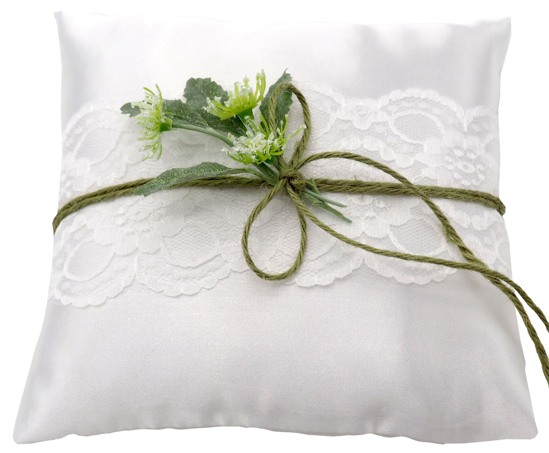 Ringkissen Hochzeit Vintage Weiß Grün Spitze Braut Traukissen JENNY