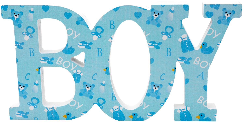 Schriftzug Holz Baby Boy Blau Baby Junge Geburt Taufe Tischdeko Raumdeko Deko