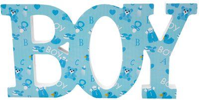Schriftzug Holz Boy Blau Baby Junge Geburt Taufe Tischdeko