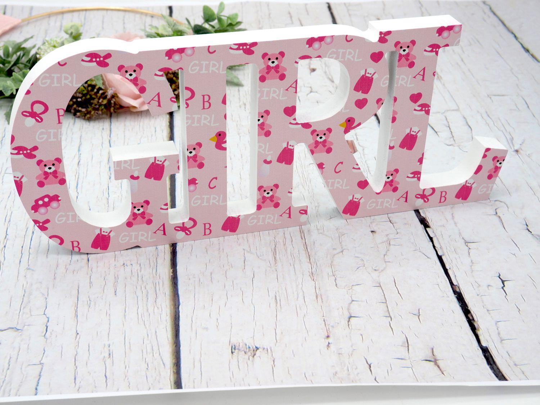 Schriftzug Holz Boy Rosa Baby Mädchen Geburt Taufe Tischdeko Raumdeko Deko