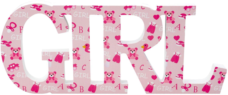 Schriftzug Holz Girl Rosa Baby Mädchen Geburt Taufe Tischdeko Raumdeko Deko