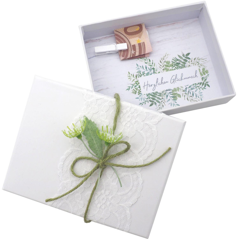Geldgeschenk Verpackung Weiß Grün Hochzeit Geburtstag Jubiläum Geburtstagsgeschenk Geschenkidee JENNY