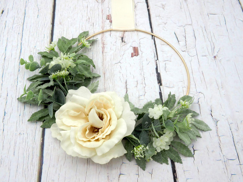 Dekokranz Blütenkranz Wandkranz Türkranz Creme Hochzeit Hochzeitsdeko